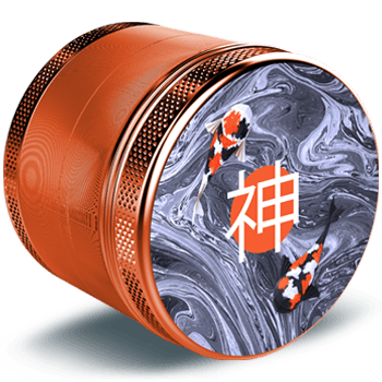 4 Piece Weed Grinder completely made of anodised aircraft aluminium in a juicy orange color. On the top design you can see a cool minimalistic design with kois fishes and asian characters. This steel herb grinder is taken from a side view and has a glossy surface.