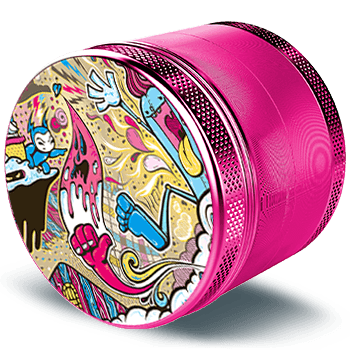 Giyotin 4 Piece Weed Grinder made of aifcraft grade aluminium in flamingo pink. The ø 2.2 inch | 56 mm large steel grinder is pictured in a side view and has a cool design by the artist Michael Henderson.